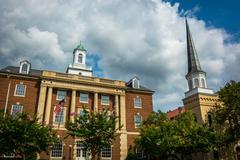 Church and Courthouse along Washington Street in Alexandria, Virginia. Stock Photos