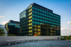 Benches and modern building in Rosslyn, Arlington, Virginia. - stock photo