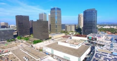 4K, Aerial view of Century City skyline skyscrapers, Los Angeles, California Stock Footage