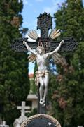 Stock Photo of Crucifix on a cemetery