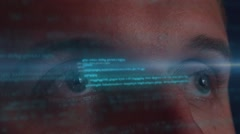 Male Developer Working with Futuristic Hologram Interface. Technology of Future Stock Footage