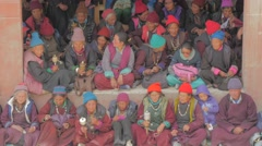 Local spectators at the masked dance festival,Lamayuru,Ladakh,India Stock Footage