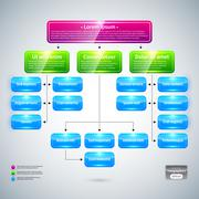Organization chart with colorful glossy elements. Useful for presentations. - stock illustration