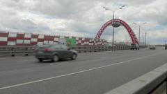Zhivopisny cable-stayed bridge that spans Moskva River Stock Footage