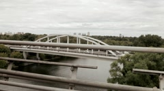 The stone bridge and road traffic that spans Moskva River Stock Footage