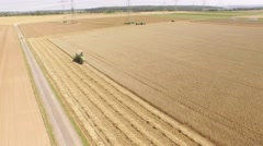 Aerial combine harvester, Germany Stock Footage