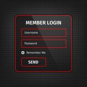 red member login ui on black background - stock illustration