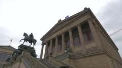 Equestrian statue in front of the Alte Nationalgalerie in Berlin, Germany Stock Footage