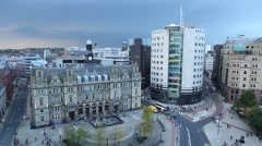 High angle shot of Leeds City square in a brewing storm Stock Footage