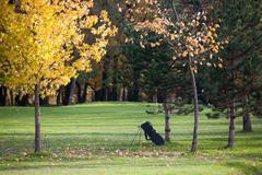 Fall season on a golf course Stock Photos