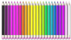 Set of coloured pencil. Pencils are aligned and sorted using rainbow colours. Stock Illustration