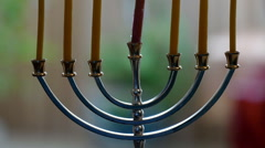 Candlestick with 7 candles (menorah) Stock Footage