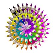 Set of coloured pencil. Pencils are aligned following a spiral and sorted usi - stock illustration