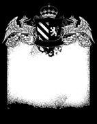 ornate heraldic frame - stock illustration
