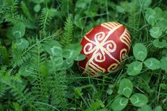 Croatian Easter egg made with traditional decorating techniques - stock photo