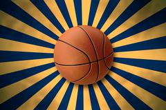 Stock Illustration of Basketball on Retro Starburst