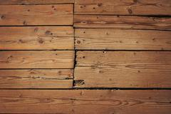 Vintage wooden panel with horizontal planks and gaps with shade - stock illustration