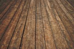 Vintage wooden surface with planks and gaps in perspective Stock Illustration