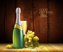 Stock Illustration of wine and grapevine