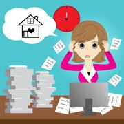 Busy business woman - stock illustration
