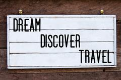 Inspirational message - Dream, Discover, Travel - stock photo