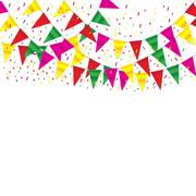 Stock Illustration of Celebrate banner. party flags with confetti