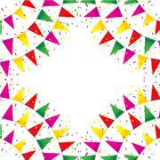 Celebrate banner. party flags with confetti - stock illustration