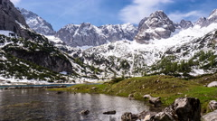 Seebensee in the Wetterstein mountains in Austria, Tirol - stock footage