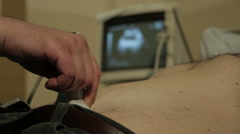 Ultrasound. Examination of the stomach, close up. Medical review. Monitor screen Stock Footage