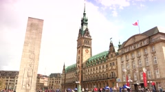 ULTRA HD 4K real time shot,shot of the Hamburg town hall and market place Stock Footage