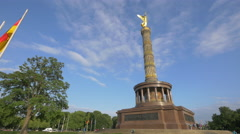 The amazing Victory statue and flags, Berlin Stock Footage