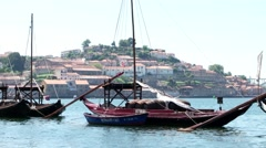 Douro river and traditional boats Stock Footage