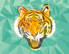 Stock Illustration of Tiger anger geometric style