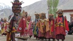 Masked dancers at masked dance festival,Lamayuru,Ladakh,India Stock Footage