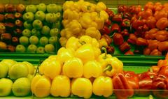 Bell pepper and paprika on shelf at supermarket Stock Photos