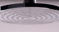 Close-up: The Shower Water Flow From Showerhead Opens Stock Footage