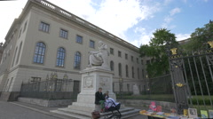 Humboldt University of Berlin with the Humboldt brothers' statues Stock Footage