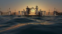 Gates To Heaven Ocean Scene With Sunrise Sky - stock illustration