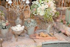 Luxurious wedding dinner with beige theme Stock Photos
