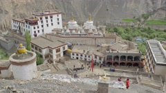 Lamayuru monastary from above,Lamayuru,Ladakh,India Stock Footage
