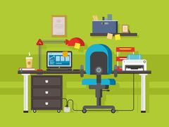 Office workplace - stock illustration