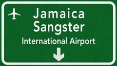 Stock Illustration of Jamaica Sangster Montego Bay International Airport Highway Sign