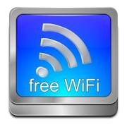 free wireless WiFi button - stock photo
