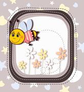 Cute cartoon bee in frame Stock Illustration