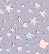 Cute pastel background with hearts and stars - stock illustration