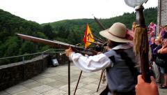 VIANDEN, THE LUXEMBOURG - JULY 31 2015: Vianden Castle, Musketeers shooting. Stock Footage