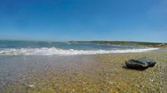 Rock and sand in Porto Ferro Stock Footage
