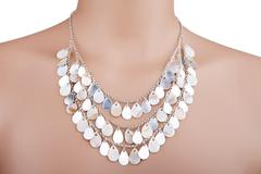 Beautiful silver statement necklace on a mannequin - stock photo