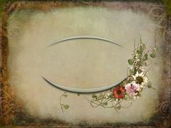 Vintage bouquet with oval frame Stock Illustration