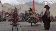 Dancer with hat at masked dance festival,Lamayuru,Ladakh,India Stock Footage